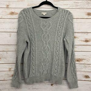 GAP Gray Crewneck Cable Knit Long Sleeve Sweater
